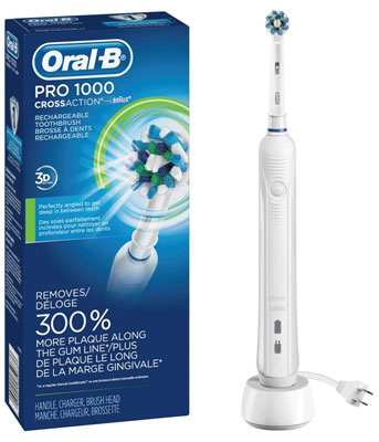 1. Oral-B White Pro 1000 Power Electric Toothbrush