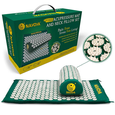 1. Nayoya Neck and Back Pain Relief with Pillow Set Acupressure Mat