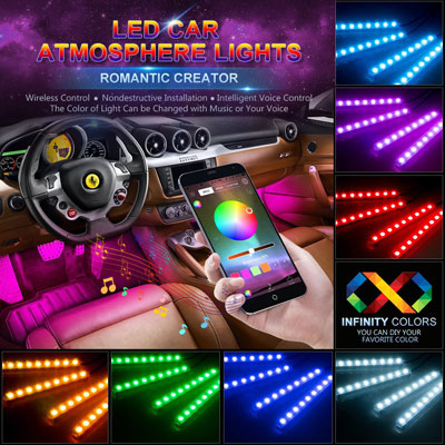 wsiiroon Under Dash Active Function Bluetooth Controller LED Light Strip