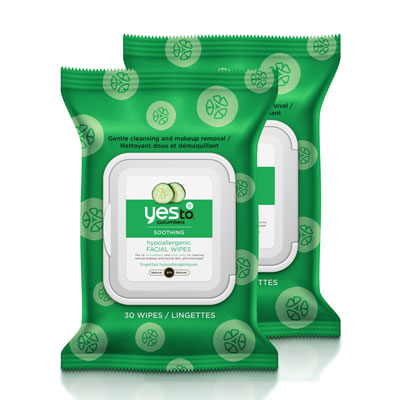 Yes To Cucumbers Soothing Hypoallergenic Facial Wipes (Pack of 2)