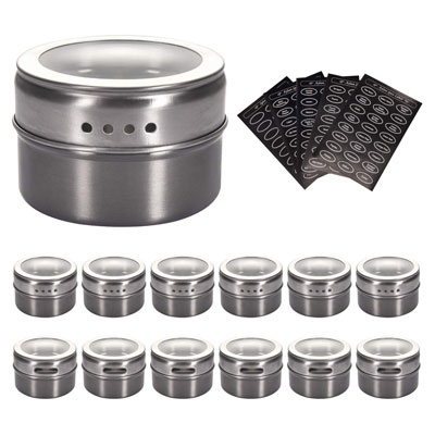 10. Aylson 12 Stainless Steel Magnetic Spice Tins 120 Labels