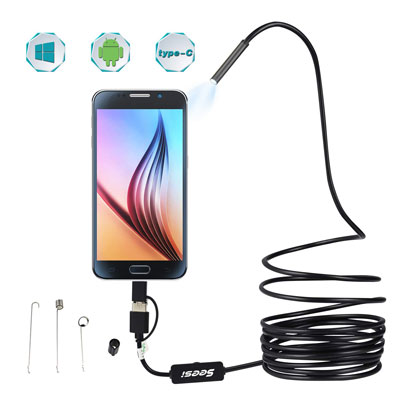SEESI 3 in 1 USB Endoscope Waterproof Ultra-Thin Snake Inspection Camera