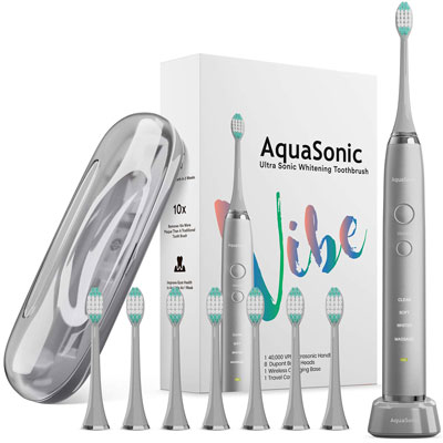 10. AquaSonic VIBE series Ultra Whitening Electric Toothbrush
