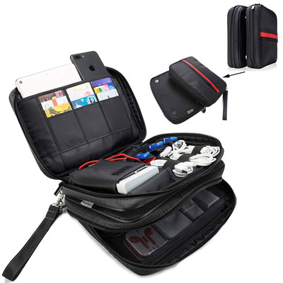 10. FLYINGCOLOR Electronic Organizer Double Layer Storage Bag