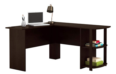 1. Ameriwood Home Office L-Shaped Desk with 2 Shelves