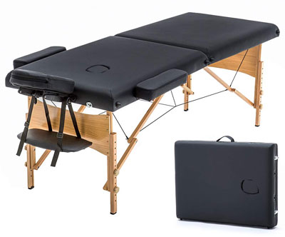 2. BestMassage Portable Massage Table w/Carry Case