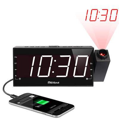 2. Mesqool Projection Alarm Clock for Bedroom