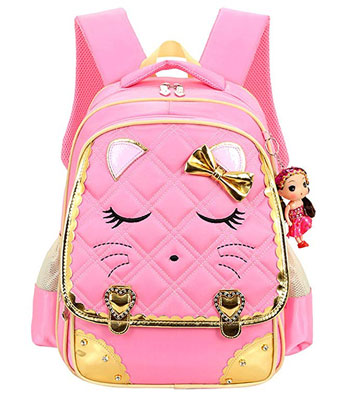 4. Cat Face Waterproof Girls Backpack Kids School Bookbag
