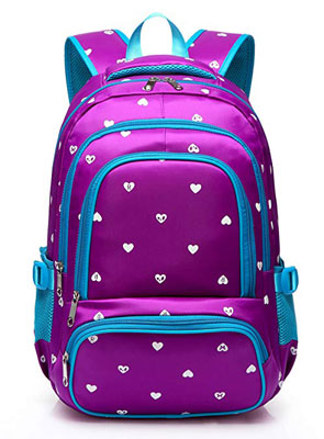 3. BLUEFAIRY Hearts Print School Backpacks For Girls