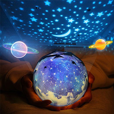 3. Elmchee Set of Three Star Night Light for Kids with Universe Projection