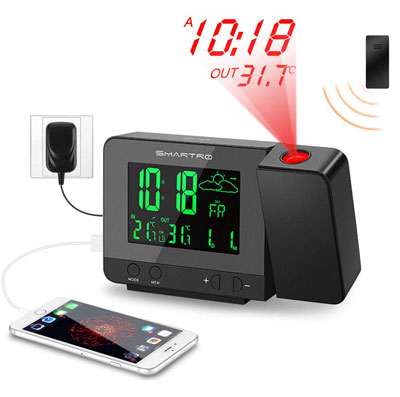 3. SMARTRO Digital Projection Alarm Clock – SC31B – with Weather Station