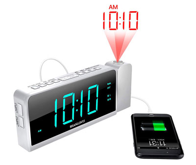 10. SHANLONYI Projection Alarm Clock Radio for Bedrooms