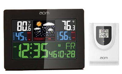 9. AOM Color Weather Station Moisture Alarm Home Clock Temperature Screen Thermometer