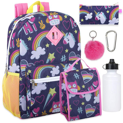2. Trail maker Girl's 6 in 1 Backpack Set