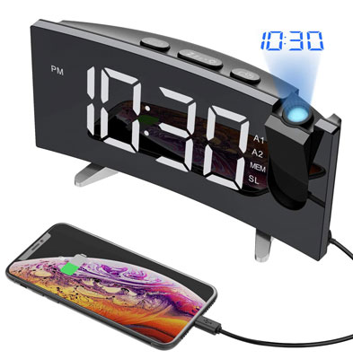 4. PICTEK 15 FM Radio Projection Alarm Clock for Bedrooms Ceiling