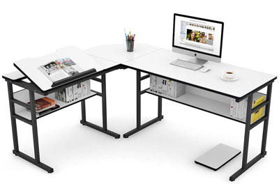 9. Tribesigns White Modern L-Shaped Desk with Bookshelf