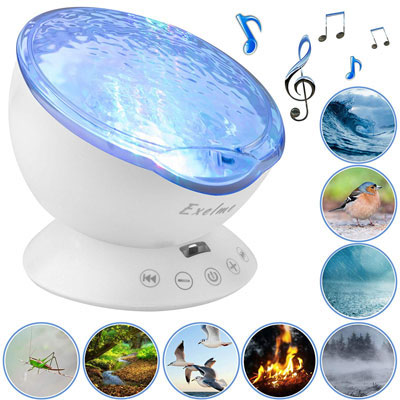 10. Exelme Ocean Wave Night Light Projector with Relaxing Light Show and Soothing Nature Noise