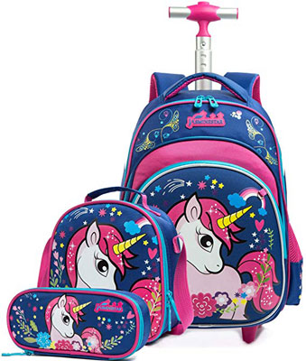 10. Meetbelify Girls Unicorn Rolling Backpacks with Wheels