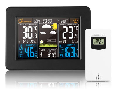 7. ALLOMN Wireless Colorful Clock Weather Forecast Weather Station Home Thermometer