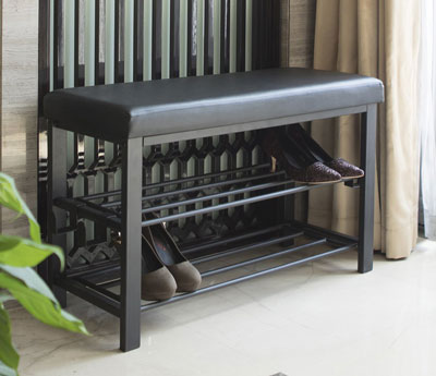 8. Finnhomy Black Shoe Rack Bench