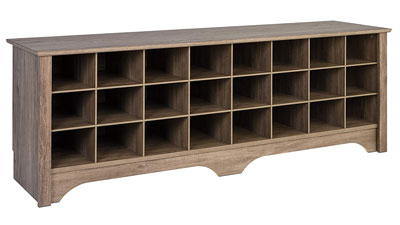 6. Prepac Shoe Rack Bench with 24 Storages
