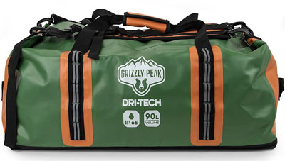 8. Dri-Tech Water-Resistant Duffel Bag by Grizzly Peak
