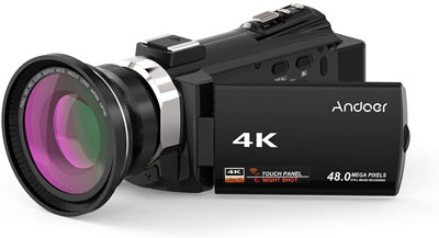 9. Andoer 1080P 48MP WiFi 4K Camcorder