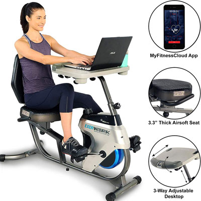 9. Exerpeutic 2500 Recumbent Exercise Bike with Bluetooth and Desk