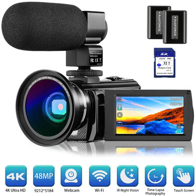 4. Rosdeca 4K Camcorder Video Camera Vlogging for YouTube