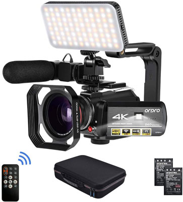 10. ORDRO 4K 1080P Camcorder Video Camera