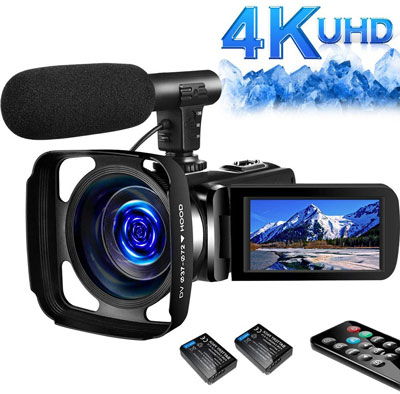 5. SAULEOO 4K Video Camera Camcorder, 2 Batteries