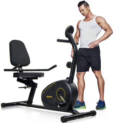6. Merax Recumbent Bike for Exercise with Bluetooth Included