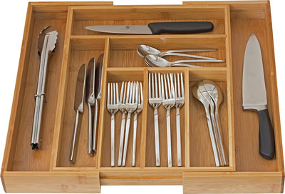 7. Home-it Bamboo Flatware Utensil Drawer Organizer
