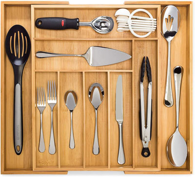1. Dynamic Gear Premium Bamboo Utensil Drawer Organizer