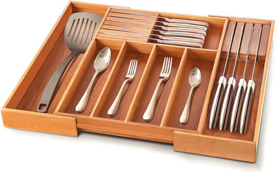 5. Bambüsi Silverware Kitchen Drawer with Expandable Cutlery Tray