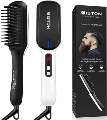 6. ISTON Portable Beard Straightener Comb with LED Display for Home & Travel