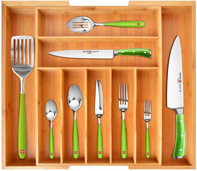 8. ROYAL CRAFT WOOD Silverware Bamboo Drawer Organizer