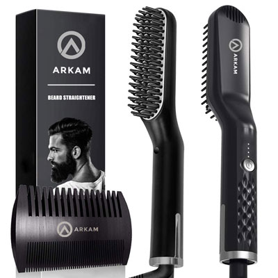 7. Arkam Premium Beard Straightener for Men