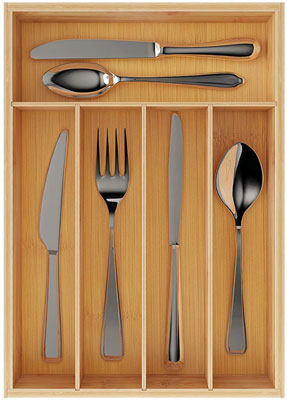 9. BAMEOS Pure Bamboo Kitchen Drawer Organizer