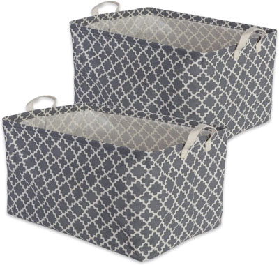 10. DII Cotton/Polyester Cube Laundry Basket, Large Set of 2