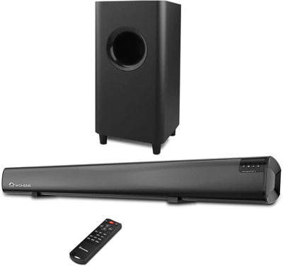 7. WOHOME 2.1 Channel Soundbar with Subwoofer, Upgraded Model S18