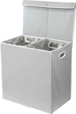 2. Simple Houseware Double Laundry Hamper with Lid and Removable Laundry Bags