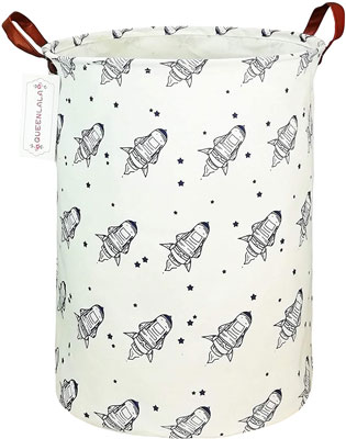 7. QUEENLALA Collapsible Round Large Storage Basket Bin