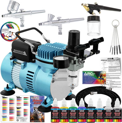 3. Master Airbrush Cool Runner II Airbrushing System Kit Dual Fan Air Compressor