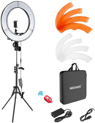 2. Neewer 55W 5500K Dimmable LED Ring Light Kit