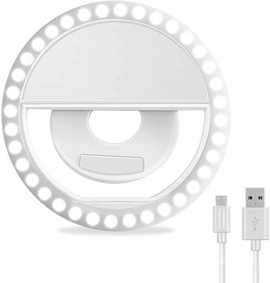 5. XINBAOHONG Rechargeable Clip-on Selfie Ring Light