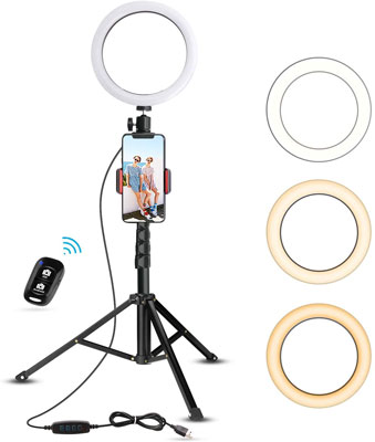 "1. UBeesize 8"" Selfie Ring Light with Tripod Stand & Cell Phone Holder"