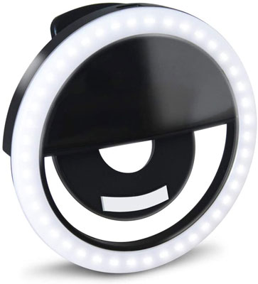 6. GLOUE 1 Pack Selfie Light Ring with 36 Led Bubbles