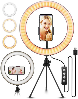 "8. ELEGIANT 10.2"" Selfie Ring Light with Tripod Stand"