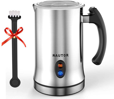 8. NAUTOR Electric Milk Frother with Hot or Cold Functionality